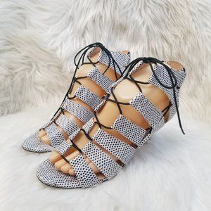 Loeffler Randall Luiza Lizard-Print Lace-Up Sandal